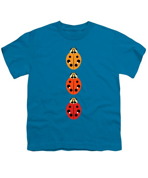 Ladybug Trio Vertical Youth T-Shirt by MM Anderson
