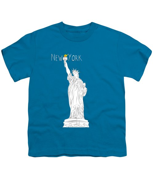Ny Statue Of Liberty Line Art Youth T-Shirt by Bekare Creative