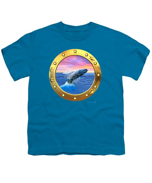 Porthole View Of Breaching Whale Youth T-Shirt by Glenn Holbrook