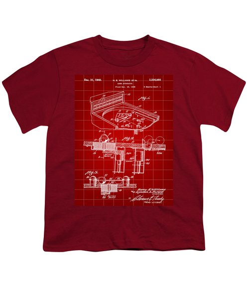 Pinball Machine Patent 1939 - Red Youth T-Shirt by Stephen Younts