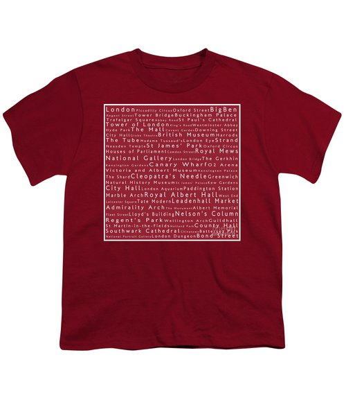 London In Words Red Youth T-Shirt by Sabine Jacobs