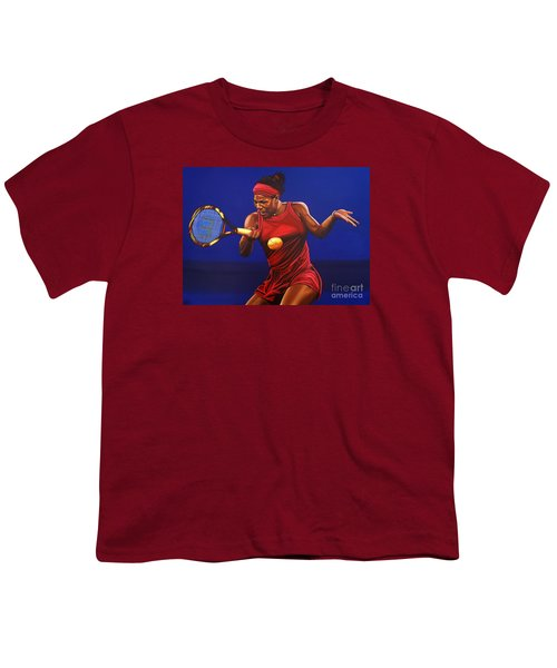 Serena Williams Painting Youth T-Shirt by Paul Meijering