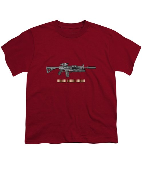 Colt  M 4 A 1  S O P M O D Carbine With 5.56 N A T O Rounds On Red Velvet  Youth T-Shirt by Serge Averbukh