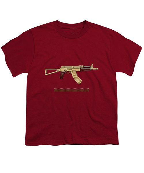 Gold A K S-74 U Assault Rifle With 5.45x39 Rounds Over Red Velvet   Youth T-Shirt by Serge Averbukh