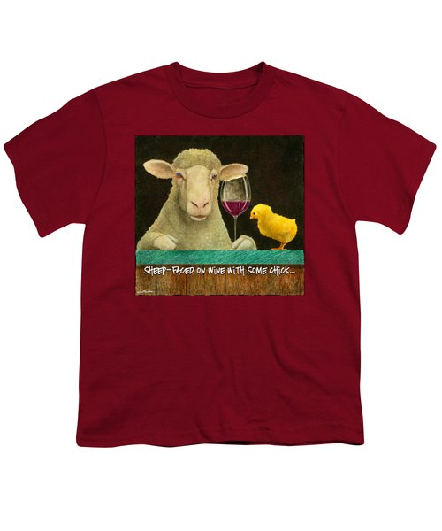 Sheep Faced On Wine With Some Chick... Youth T-Shirt by Will Bullas