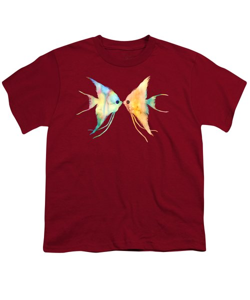 Angelfish Kissing Youth T-Shirt by Hailey E Herrera
