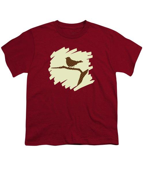 Brown Bird Silhouette Modern Bird Art Youth T-Shirt by Christina Rollo