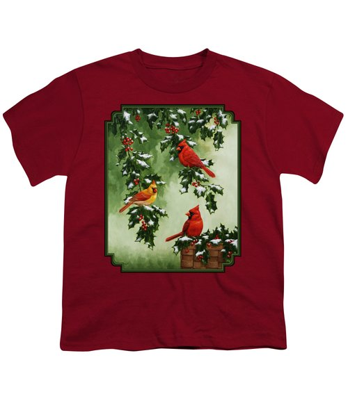 Cardinals And Holly - Version With Snow Youth T-Shirt by Crista Forest