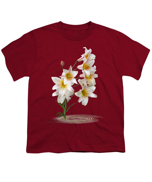 Cascade Of Lilies On Black Youth T-Shirt by Gill Billington