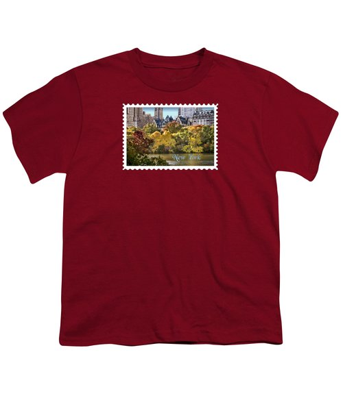 Central Park Lake In Fall Text New York Youth T-Shirt by Elaine Plesser