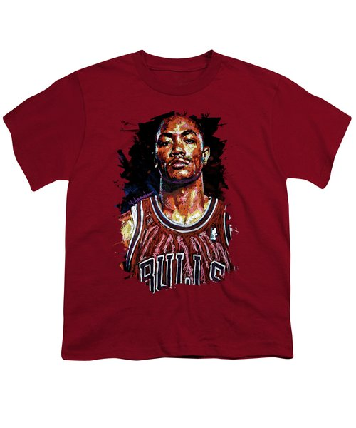 Derrick Rose-2 Youth T-Shirt by Maria Arango