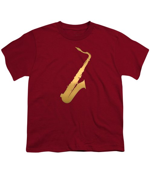 Gold Embossed Saxophone On Red Background Youth T-Shirt by Serge Averbukh