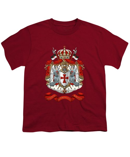 Knights Templar - Coat Of Arms Over Red Velvet Youth T-Shirt by Serge Averbukh