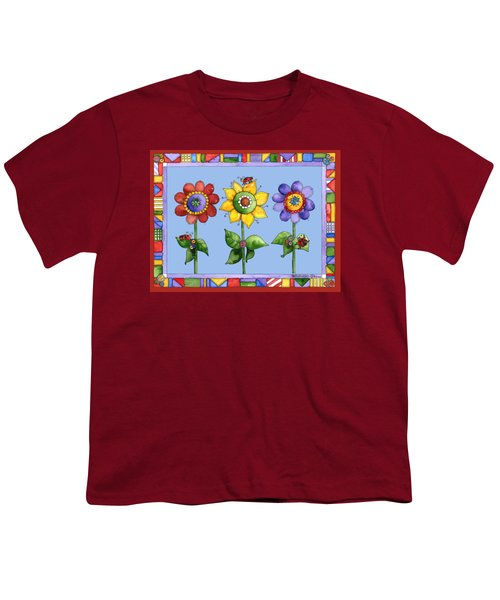 Ladybug Trio Youth T-Shirt by Shelley Wallace Ylst