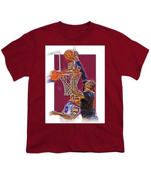 Lebron James Cleveland Cavaliers Oil Art Youth T-Shirt by Joe Hamilton