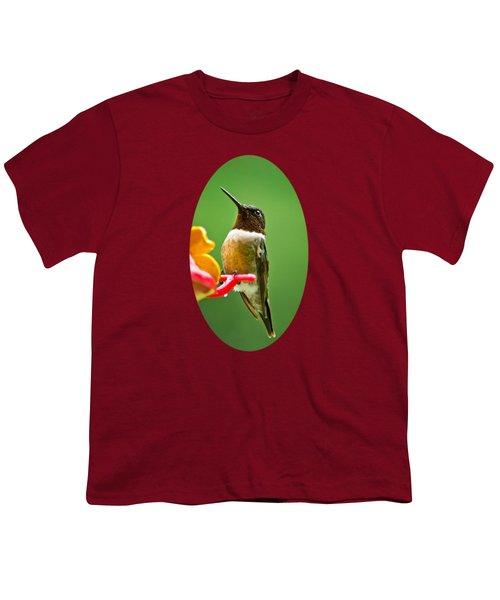 Rainy Day Hummingbird Youth T-Shirt by Christina Rollo