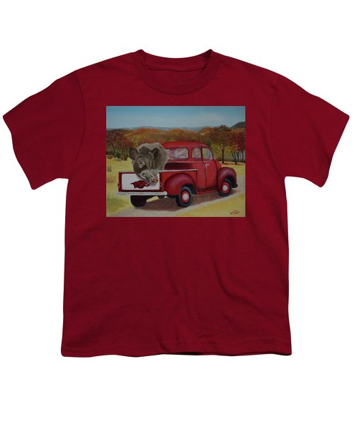 Ridin' With Razorbacks Youth T-Shirt by Belinda Nagy