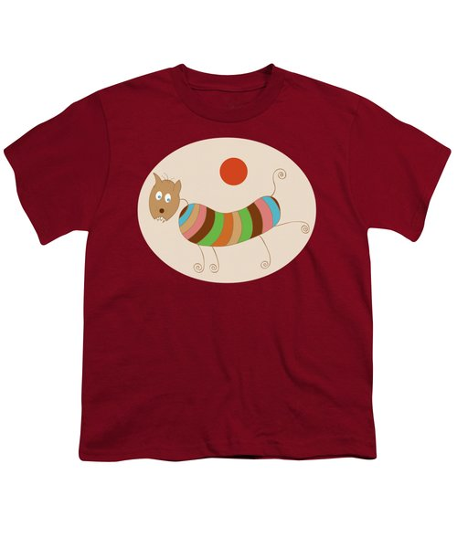 Sausage Dog In Ketchup Sunset Youth T-Shirt by Frank Tschakert