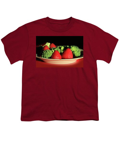 Strawberries And Broccoli Youth T-Shirt by Lori Deiter