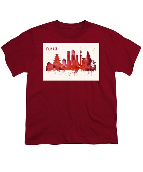 Tokyo Skyline Watercolor Poster - Cityscape Painting Artwork Youth T-Shirt by Beautify My Walls