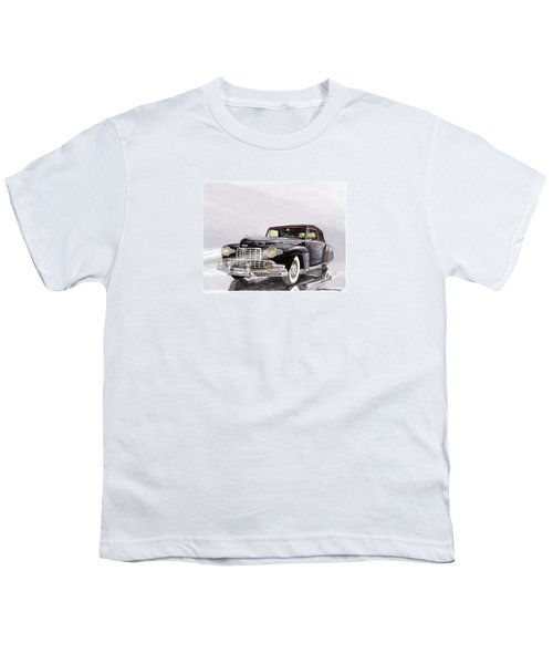 1946 Lincoln Continental Convertible Foggy Reflection Youth T-Shirt by Jack Pumphrey