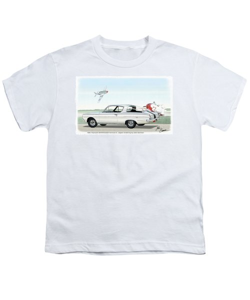 1965 Barracuda  Classic Plymouth Muscle Car Youth T-Shirt by John Samsen