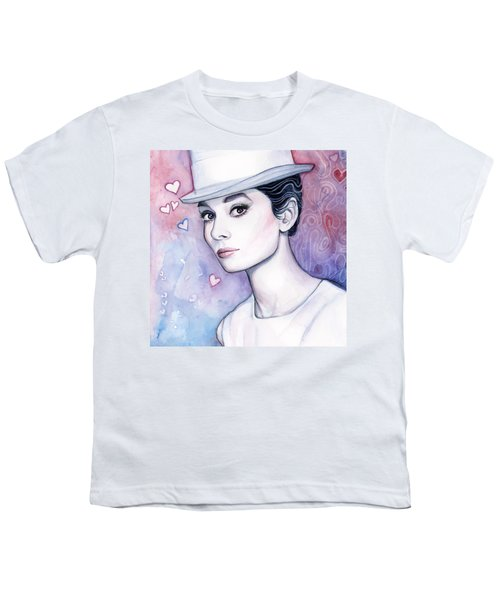 Audrey Hepburn Fashion Watercolor Youth T-Shirt by Olga Shvartsur