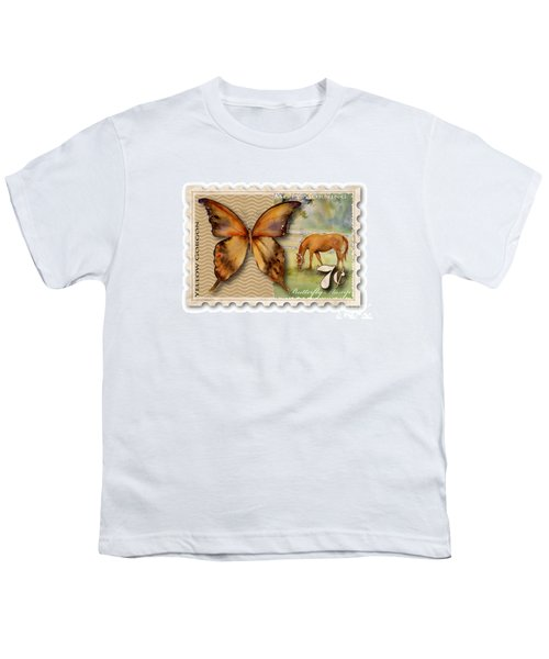 7 Cent Butterfly Stamp Youth T-Shirt by Amy Kirkpatrick