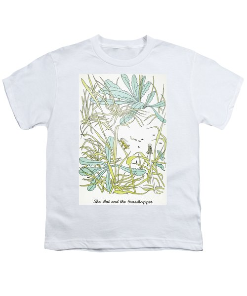 Aesop: Ant & Grasshopper Youth T-Shirt by Granger