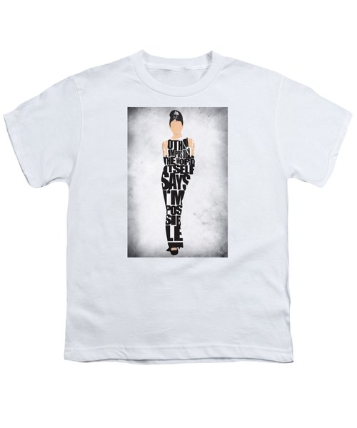 Audrey Hepburn Typography Poster Youth T-Shirt by Ayse Deniz