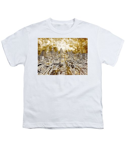 Austin Texas Abstract Panorama 6 Youth T-Shirt by Bekim Art