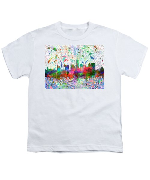 Austin Texas Abstract Panorama 7 Youth T-Shirt by Bekim Art