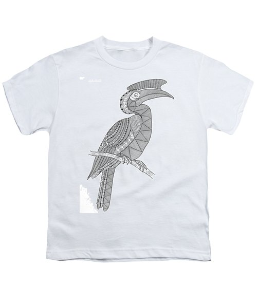 Bird Hornbill Youth T-Shirt by Neeti Goswami