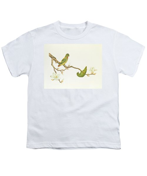 Blue Crowned Parakeet Hannging On A Magnolia Branch Youth T-Shirt by Chinese School
