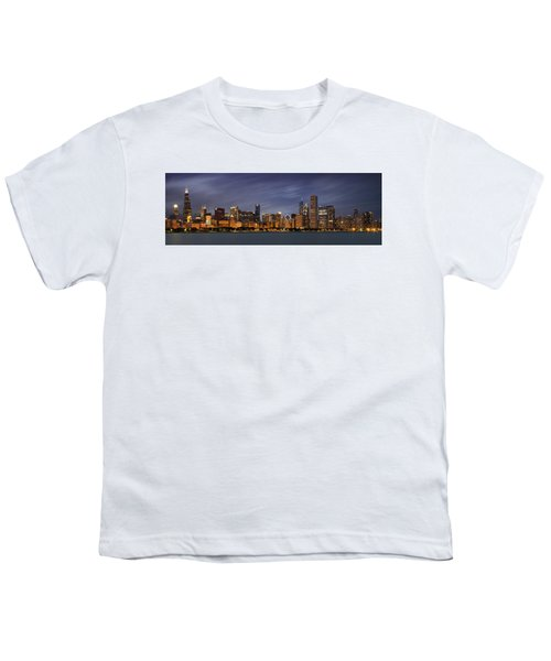 Chicago Skyline At Night Color Panoramic Youth T-Shirt by Adam Romanowicz