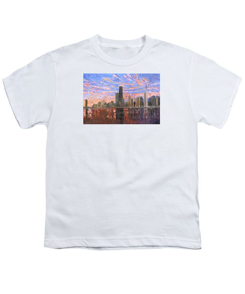 Chicago Skyline - Lake Michigan Youth T-Shirt by Mike Rabe