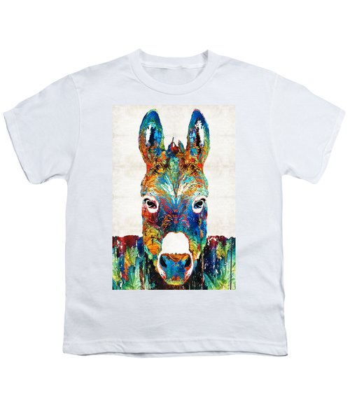 Colorful Donkey Art - Mr. Personality - By Sharon Cummings Youth T-Shirt by Sharon Cummings