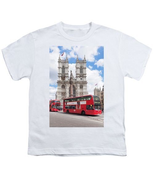 Double-decker Buses Passing Youth T-Shirt by Panoramic Images
