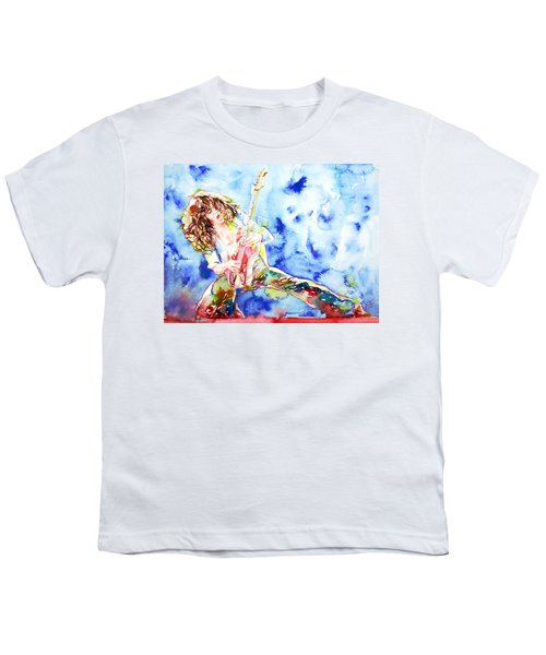Eddie Van Halen Playing The Guitar.1 Watercolor Portrait Youth T-Shirt by Fabrizio Cassetta