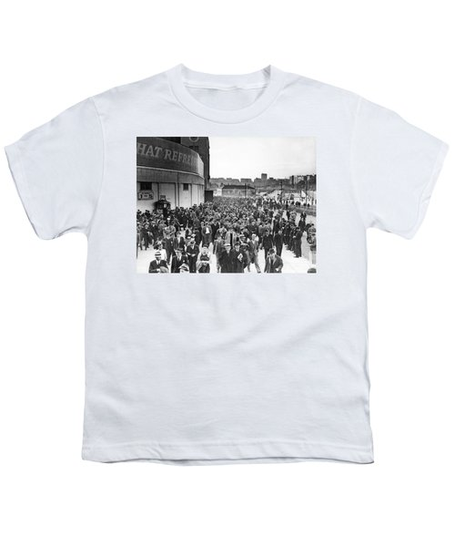 Fans Leaving Yankee Stadium. Youth T-Shirt by Underwood Archives