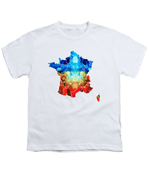 France - European Map By Sharon Cummings Youth T-Shirt by Sharon Cummings
