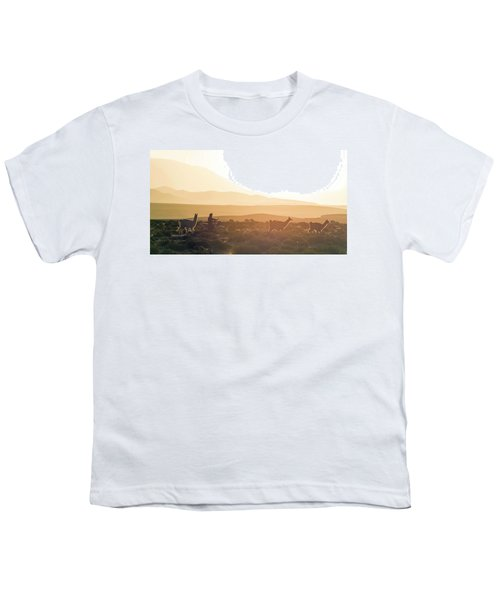 Herd Of Llamas Lama Glama In A Desert Youth T-Shirt by Panoramic Images