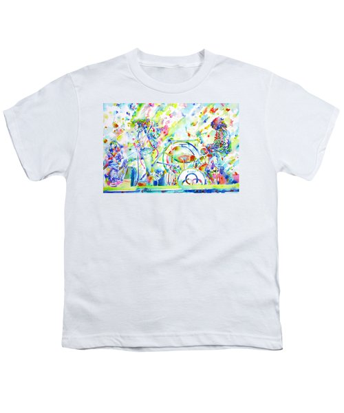 Led Zeppelin Live Concert - Watercolor Painting Youth T-Shirt by Fabrizio Cassetta