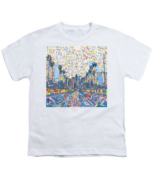 Los Angeles Skyline Abstract 3 Youth T-Shirt by Bekim Art