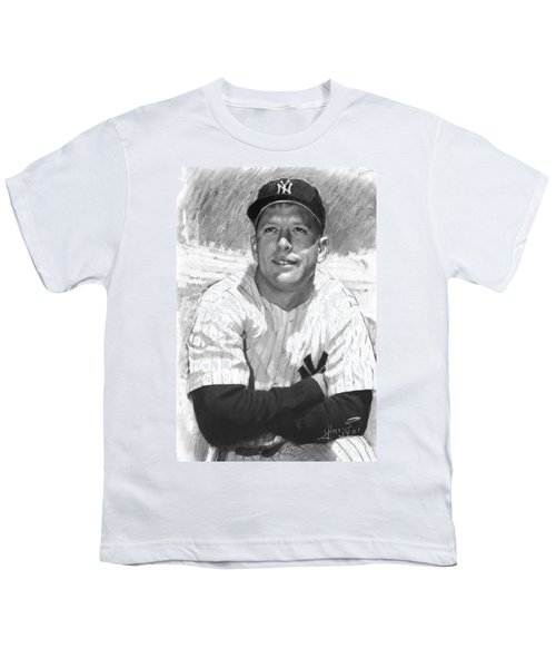 Mickey Mantle Youth T-Shirt by Viola El