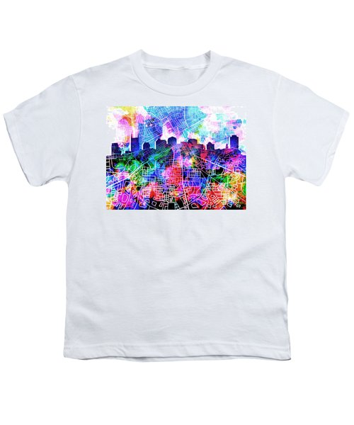 Nashville Skyline Watercolor 5 Youth T-Shirt by Bekim Art