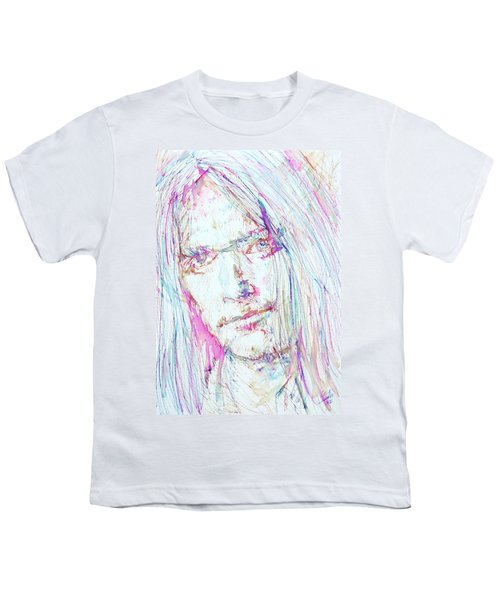 Neil Young - Colored Pens Portrait Youth T-Shirt by Fabrizio Cassetta