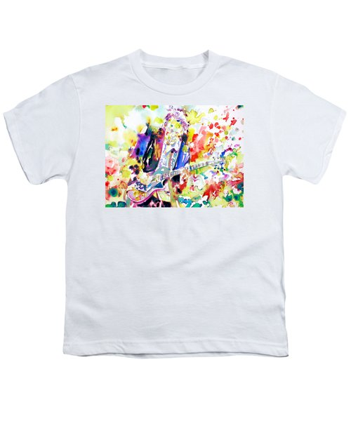 Neil Young Playing The Guitar - Watercolor Portrait.2 Youth T-Shirt by Fabrizio Cassetta