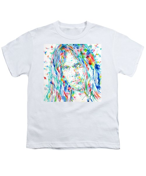 Neil Young - Watercolor Portrait Youth T-Shirt by Fabrizio Cassetta