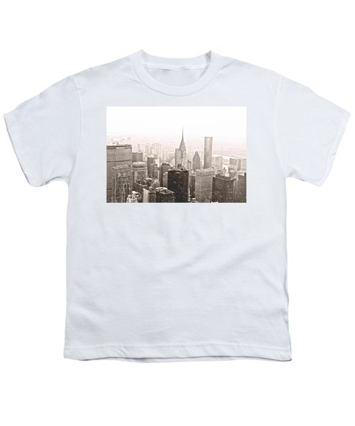 New York Winter - Skyline In The Snow Youth T-Shirt by Vivienne Gucwa